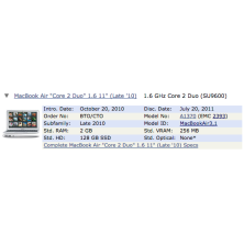 "A1370 - Cargador para Macbook Air 11,6"" a 1,6Ghz EMC 2270 Finales de 2010"