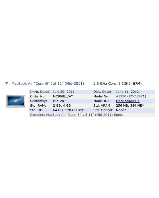 """A1370 - Cargador para Macbook Air 11,6"""" a 1,6Ghz EMC 2471 Mediados de 2011"""