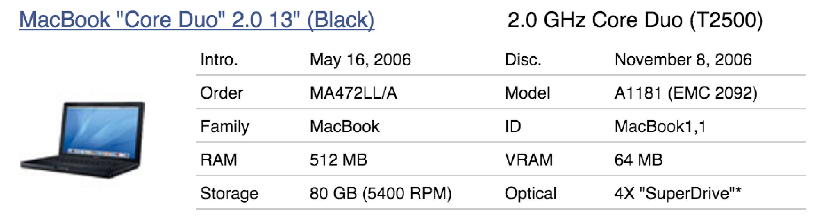 A1181 - Cargador para Apple MacBook - MA254LL/A - MacBook1,1 - 2092