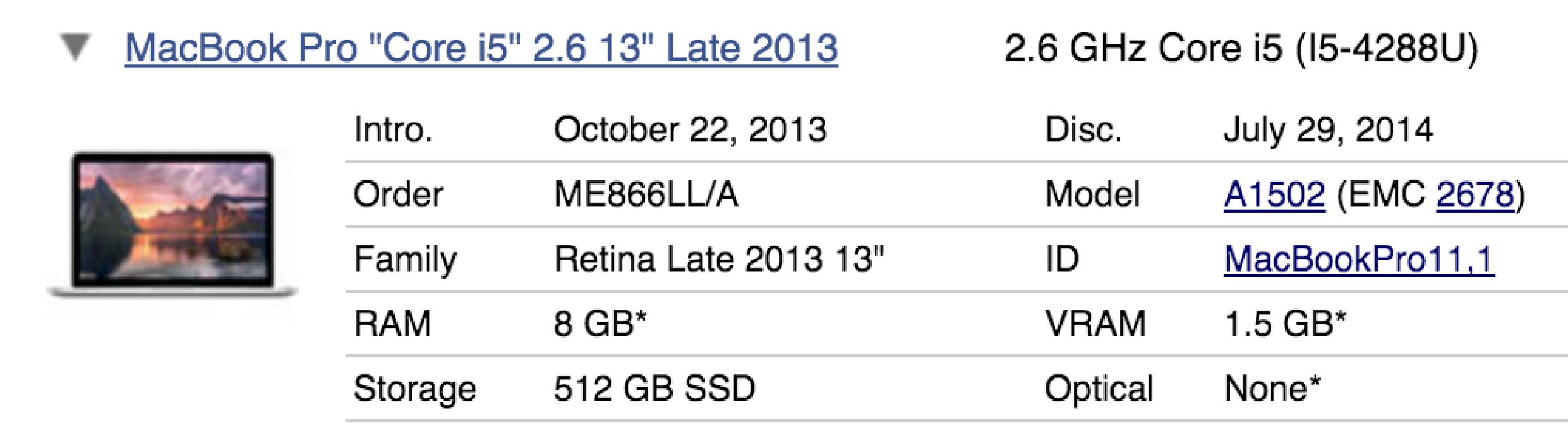 """A1502 - Cargador para Macbook Pro Retina 13"""" a 2,4ghz intel core i5 - ME866LL/A - 2678"""