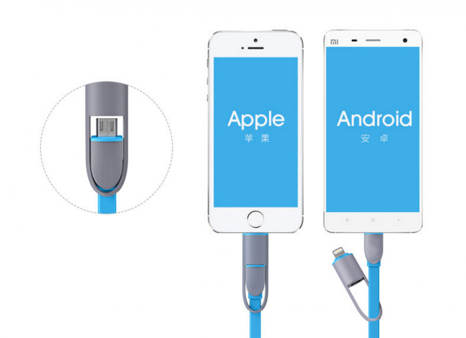 Cable para iPhone y Samsung convertible