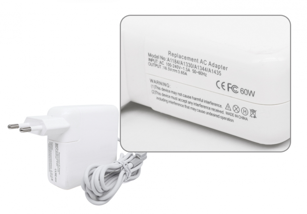 60W Carregador Compatible per Apple Macbook | 16.5V - 3.65A | MagSafe